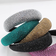 New European and American fashion temperament color rhinestone personality exaggerated headband travel wild casual headband 859