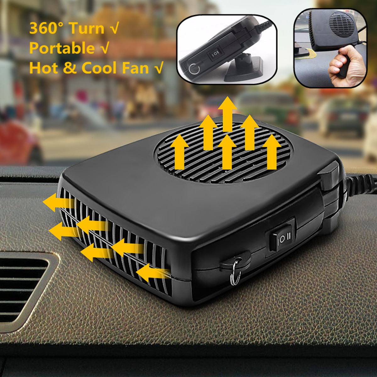 Car Heater Heating 12V/24V Fan 150W/200W 2 In 1  Dryer Windshield Demister Defroster For Vehicle Portable Temperature Control