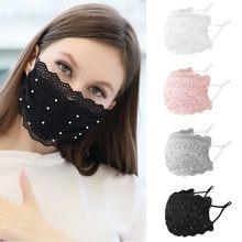 Mascarilla facial reutilizable de encaje Para mujer, máscara moderna Para La Boca, reutilizable, color blanco, rosa y negro