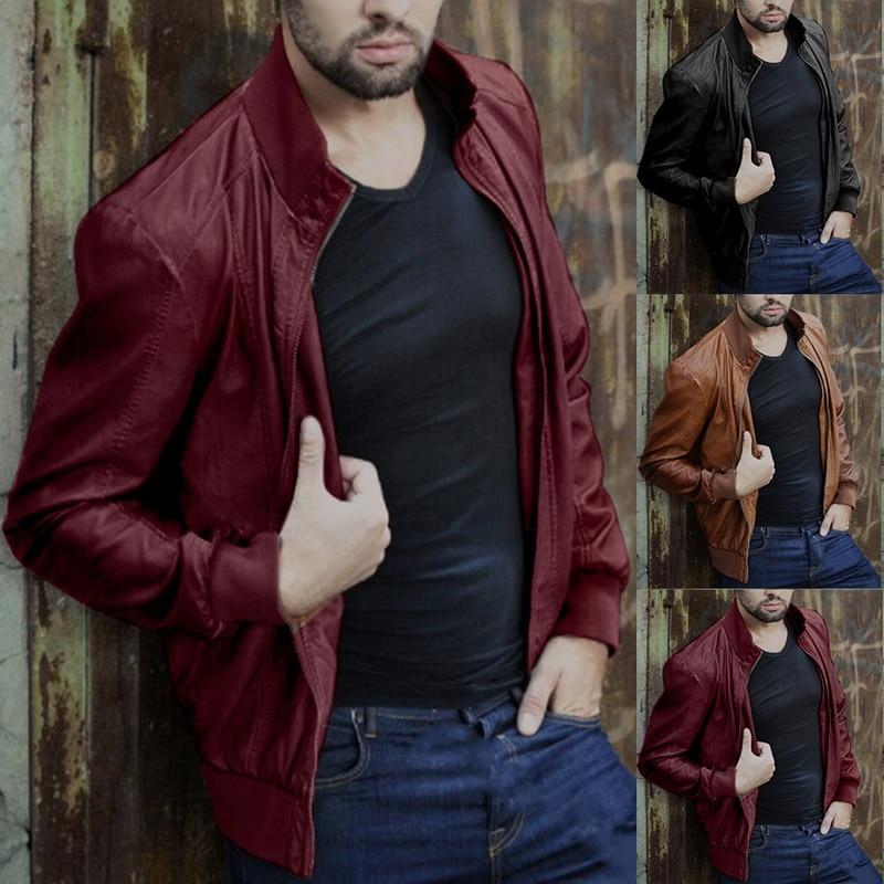 Ha0ae038caaa640149896040e58f23314o HEFLASHOR  Autumn Men Fashion Motorcycle Leather Jacket slim fit Coats Male Casaco Masculino Casual Zipper Black jacket