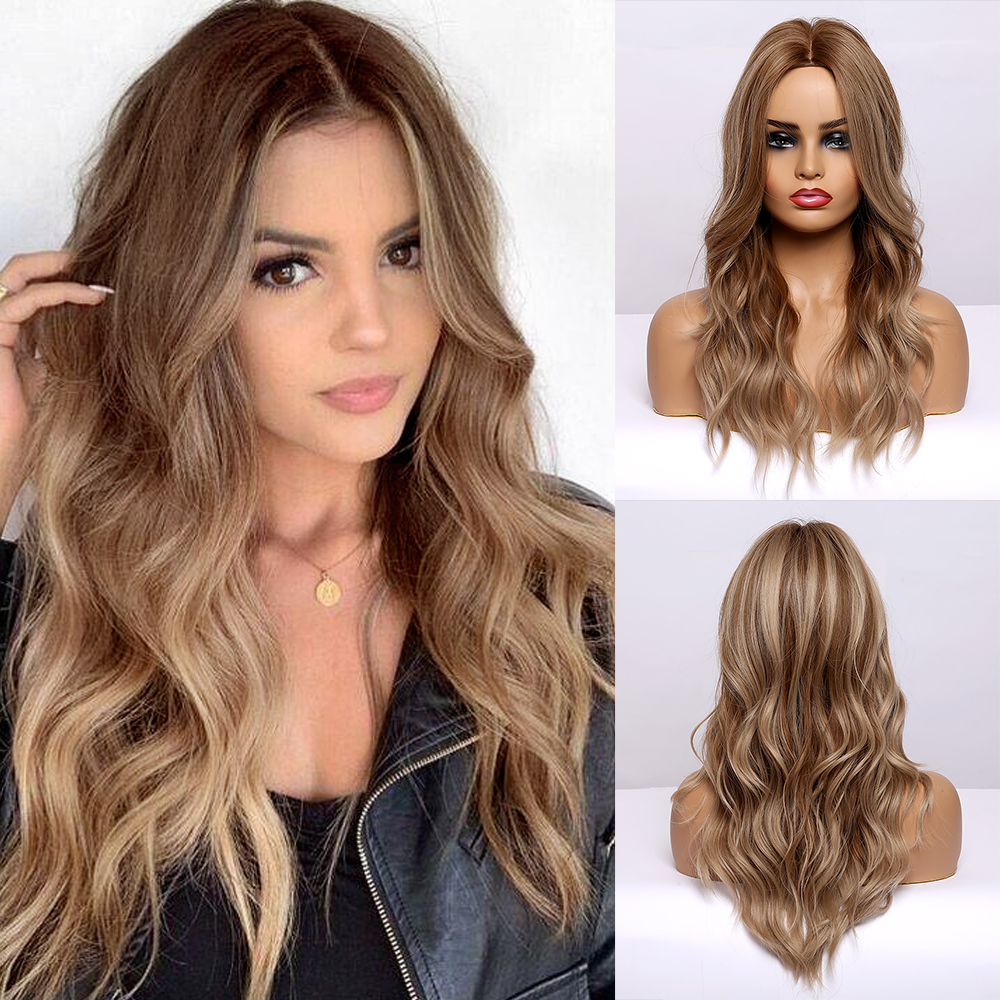 Long Wave Ombre Blonde Natural Hair Wigs Middle Part Heat Resistant Synthetic Wigs For Afro Women Glueless Wavy Cosplay Wigs