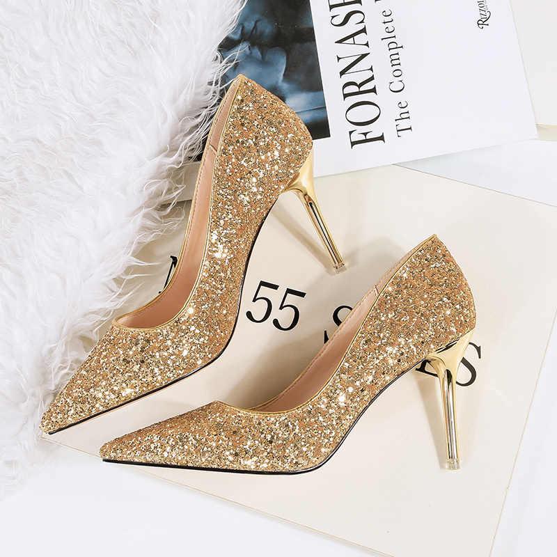 2020 Spring Women Sexy Glitter Wedding Shoes Bling Rose Gold White