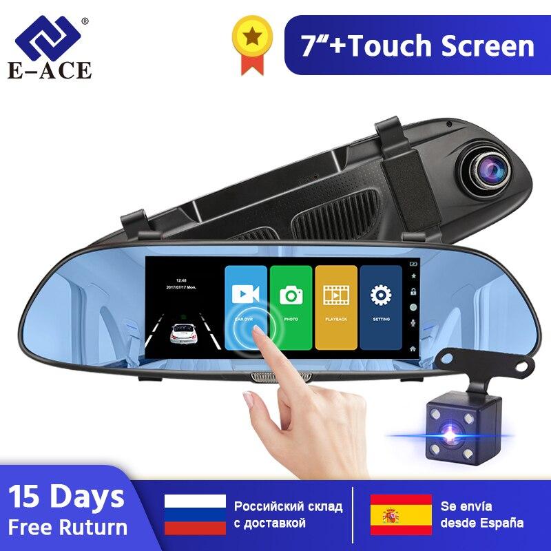 E-ACE Car DVR FHD 1080P 7.0 Inch Video Recorder Mirror Camera Dual Lens with Rear View Camera Auto Registrator Dash Cam