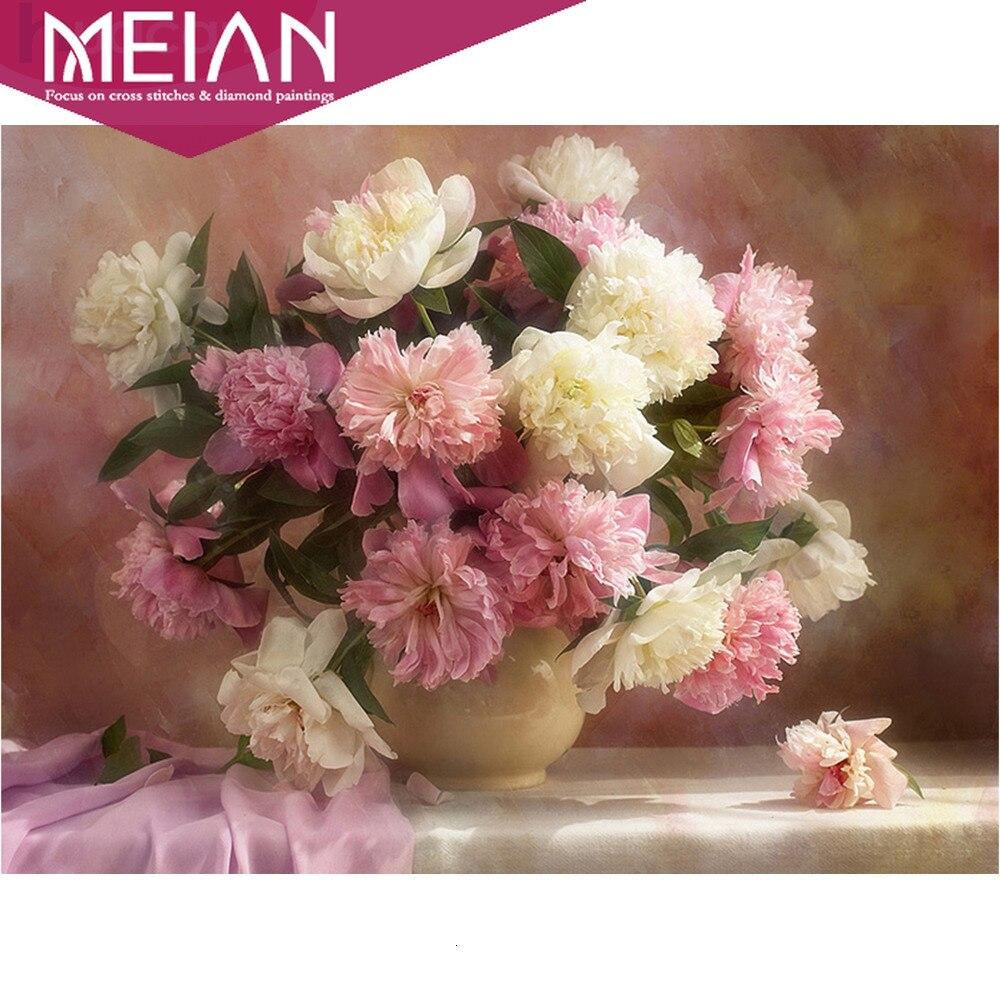 Meian цветок розовый пион Алмазная мозаика домашний декор 5D картины Стразы полная Алмазная вышивка подарки наборы крестиков Алмазная роспись, вышивка крестом      АлиЭкспресс