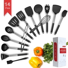 9/15Pcs Cooking Utensils Set Stainless Steel Silicone Kitchen Utensil Set Non stick Spatula with Storage Box Cooking Tools Gift