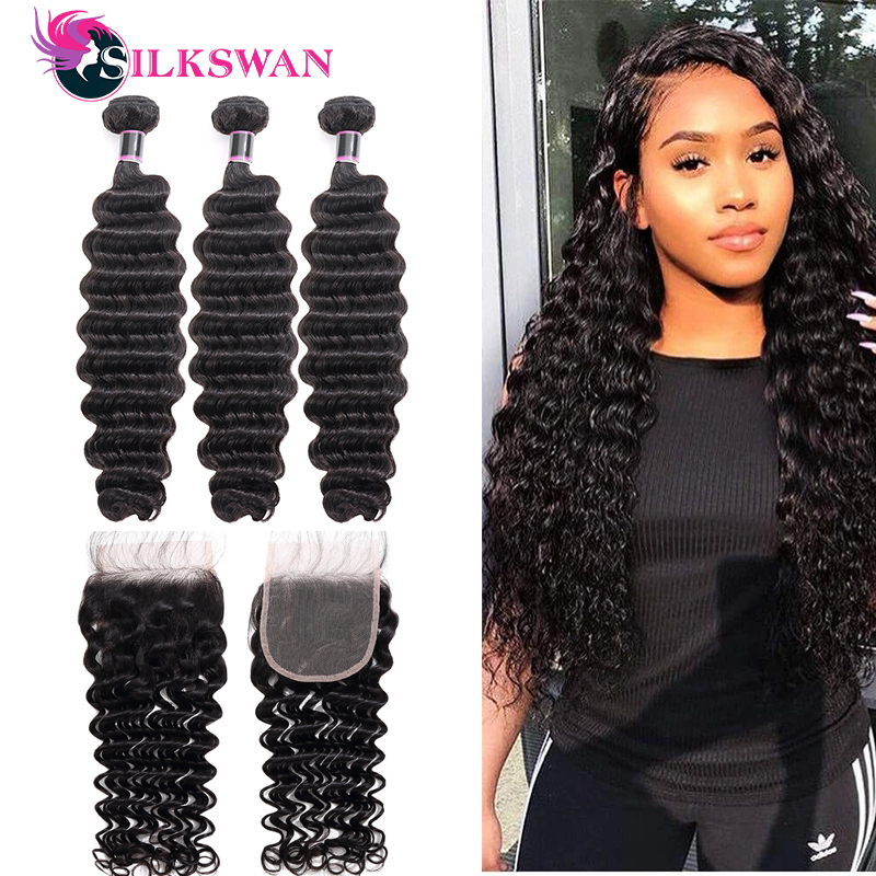 Silkswan-mechones de ondas profundas con cierre, 4 unidades/lote 100% cabello humano brasileño Remy, tejidos con cierre de encaje 4x4