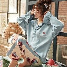 秋の冬のパジャマの女性フリルかわいいパジャマセットガール大サイズホームウェアナイトスーツパジャマショーツ