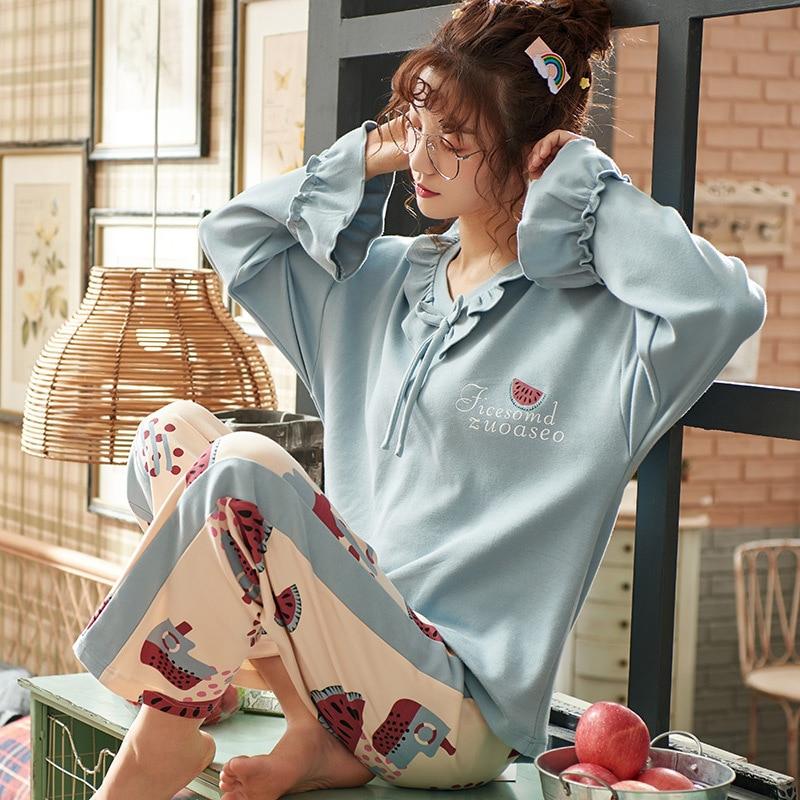 Autumn Winter Pajamas Women Ruffle Cute Pyjamas Set Girl Large Size Homewear Night Suit Pajamas With Shorts