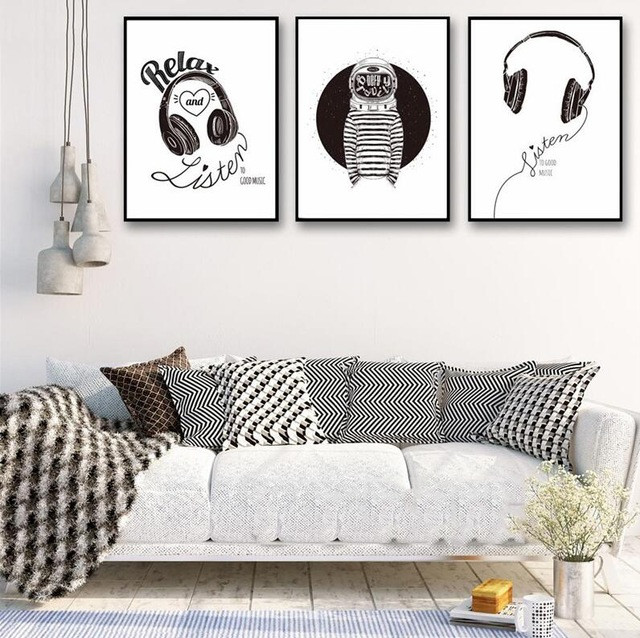 Modern Nordic Minimalist Headphones Rock Music Relax Posters A4 Canvas Art Paintings Printed Black And White Wall Pictures