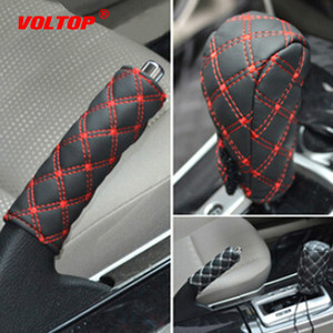 Image 2 - 2Pcs/Set gear shift knob covers boot for decorations Faux Leather Hand Brake Case Car Interior Decor Shift Knob Shell