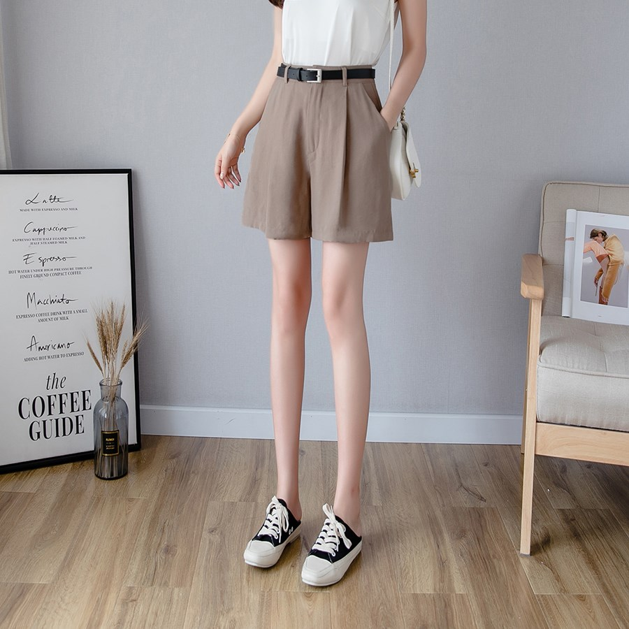 Nice Summer Women Casual Zipper Wide Leg Shorts Elegant Pockets Shorts Loose Ladies Solid High Waist Shorts