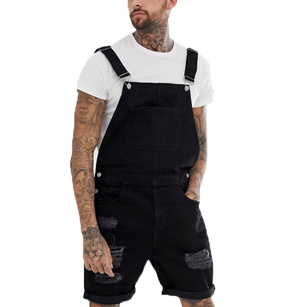 Soft Mens Plus Pocket Jeans Overall <font><b>Jumpsuit</b></font> Streetwear Overall Suspender Pleated Straight Pants Pantalones <font><b>Hombre</b></font> Joggers image