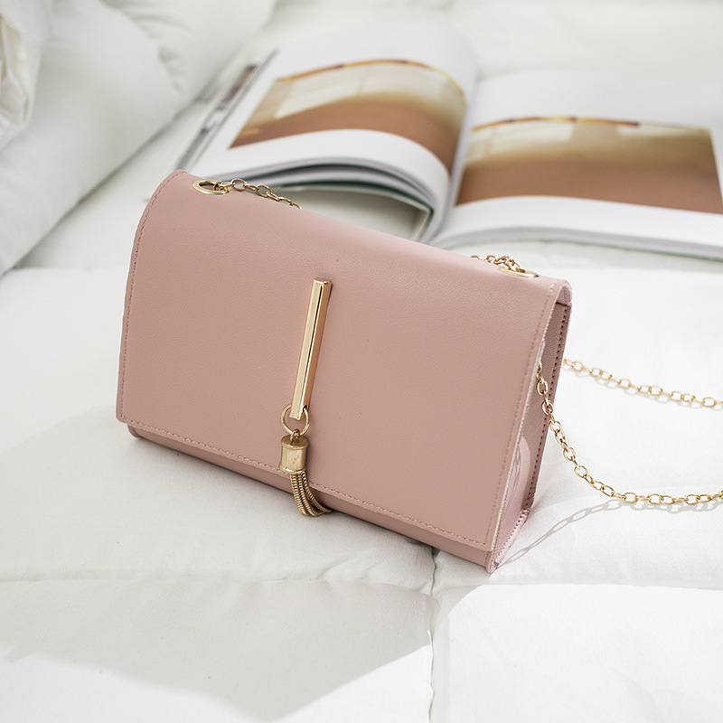Korean Ladylike Bag PU Flap Single Chains Tassel Fashion Solid Hasp Shoulder Bags Ladies Hand Bags Lovely Women's Bag