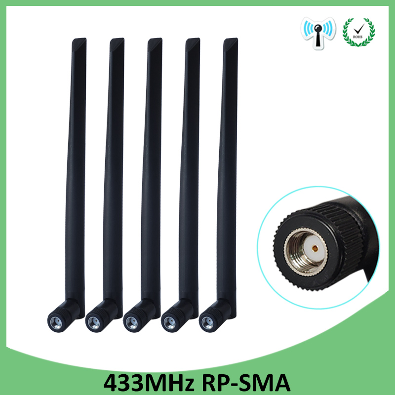 5pcs 433Mhz Antenna 5dbi GSM 433 Mhz RP-SMA Connector Rubber Waterproof Directional Antenne Wireless Receiver For Lorawan