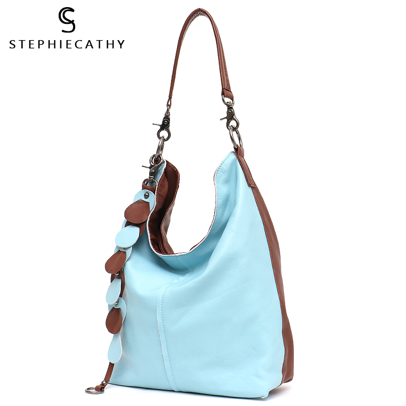 SC Big Women Handbags Genuine Leather Shoulder Bags Ladies Fashion Tassel Large Hobo Cross body Bag