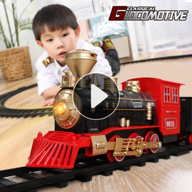 Electric Train Toy Set Car Railway and Tracks Steam Locomotive Engine Diecast Model Educational Game Boys Toys for Children Kids 2