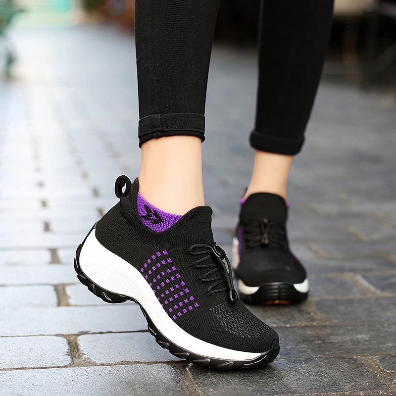 Large Size Women's Platform Sneakers Sock Trainers Shoes Womens Running Sneakers Woman Sport Shoes Sports Woman Black Gym A-414