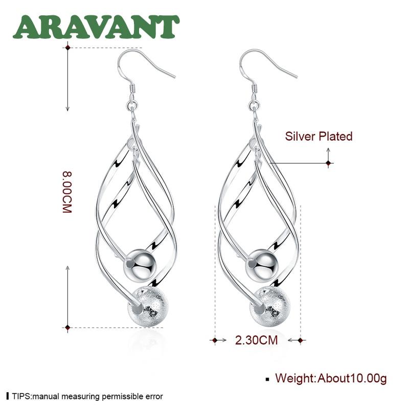 2020 New Arrival 925 Silver Women High Quality Twist Sanding Ball Hanging Long Drop Earring Jewelry
