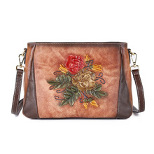 Handmade Embossing Vintage Women Bag 2020 New Genuine Leather Floral Zipper Cowhide Luxury Shoulder crossbody Bags tomubird 2018 new women genuine leather bag handmade embossing flower top cowhide luxury tote women leather shoulder bags