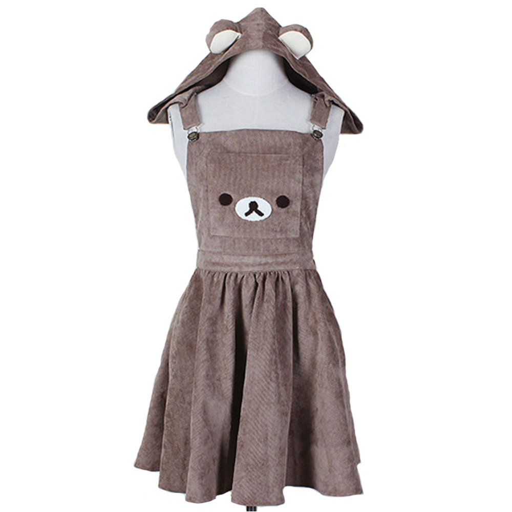 Japonês a line vestido bonito urso bordado vestido harajuku lolita