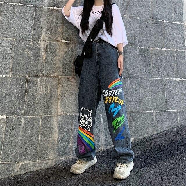 SHENGPALAE 2021 New Summer Autumn Casual Jeans Woman Long Trousers Cowboy Female Loose Streetwear Graffiti Print Pants ZA5047 3
