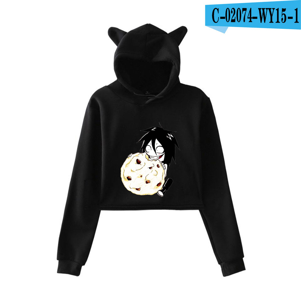 unique horror atmosphere of black humor creepypasta  print fashion trend Cat ears Top Women Hoodies Sweatshirt Sexy clothes 10