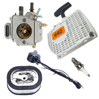 Recoil starter Carburetor kit Air filter Spark plug Ignition coil For Stihl 044 046 MS440 MS460