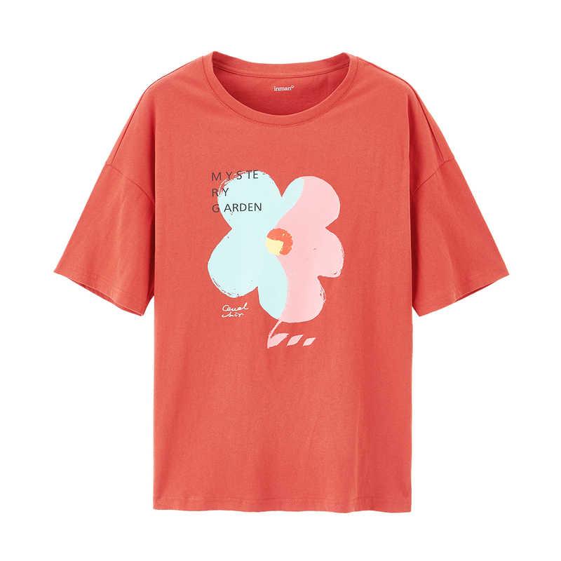 INMAN 2020 Summer New Arrival 문학 라운드 칼라 그래피티 플라워 퓨어 코튼 루스 올 매치 반소매 티셔츠