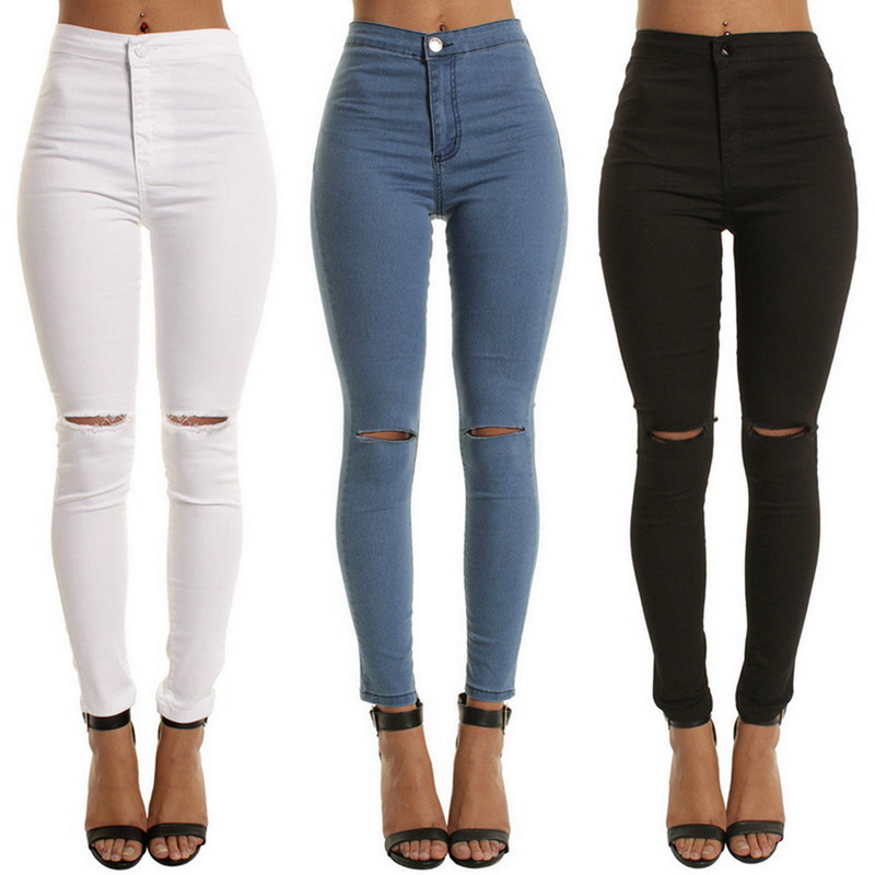 PUIMENTIUA 2019 New Ripped Jeans For Women Solid Color Women Big Size Ripped Trousers Stretch Pencil Pants Leggings Women Jeans