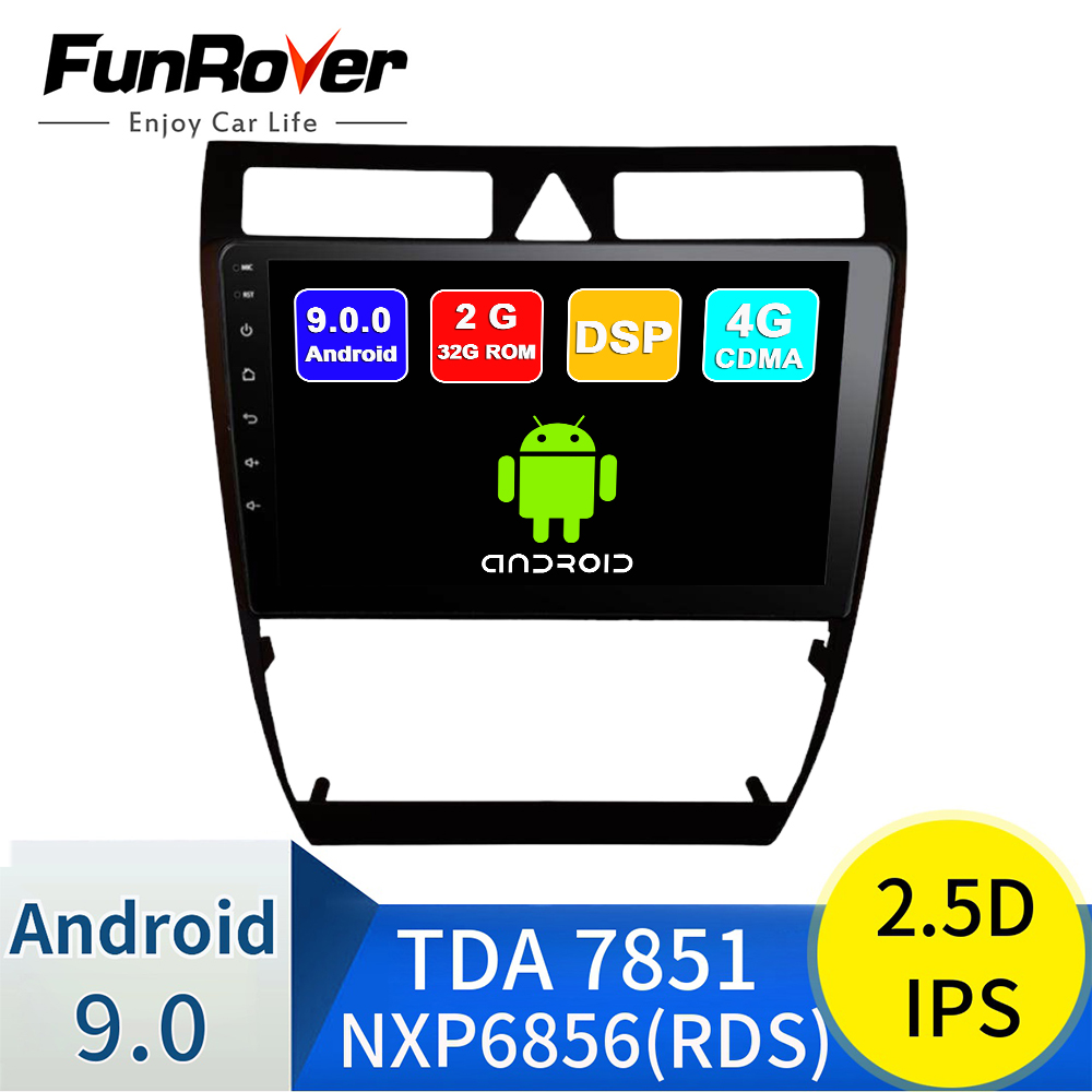 Funrover 2 din 2.5D+IPS Android 9.0 car dvd player For <font><b>Audi</b></font> <font><b>A6</b></font> S6 RS6 Allroad radio <font><b>gps</b></font> <font><b>navigation</b></font> accessories multimedia stereo image