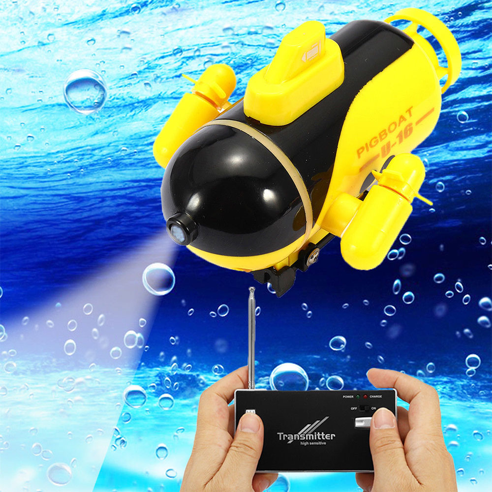 Mini Radio Racing RC Submarine Remote Control Boat Toy Gift With LED Light Light RC Toy Gift Colors Waterproof Model Gift Toy