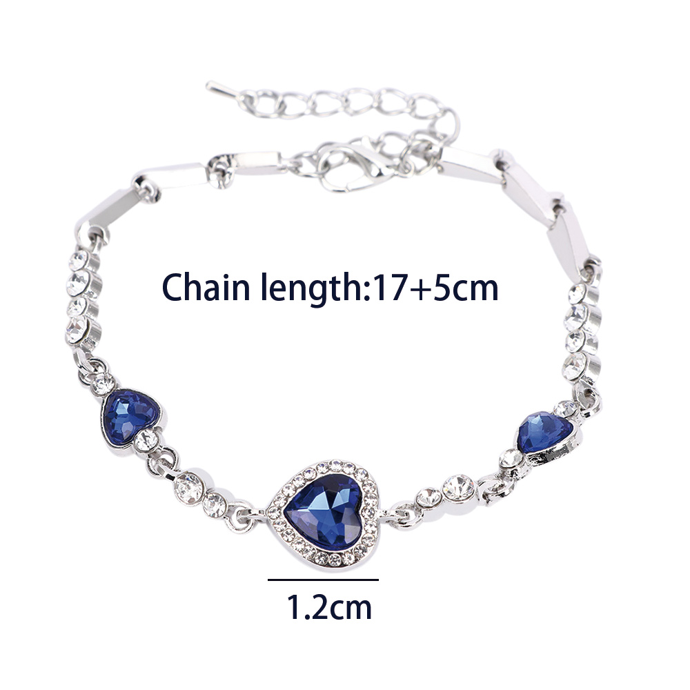 Maxgoods Hottest Womens Ladies Crystal Rhinestone Bangle Ocean Blue Bracelet Chain Heart Jewelry Party Gifts