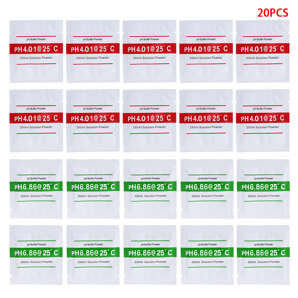 20 Pcs PH Buffer Solution Powder PH For Test Meter Measure Calibration 4.01 6.86