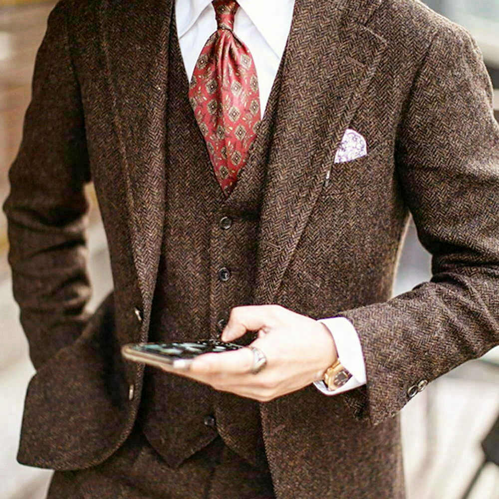 3 Stück Braun Tweed Slim Herrenanzug Smoking Bräutigam Blazer Business Anzug
