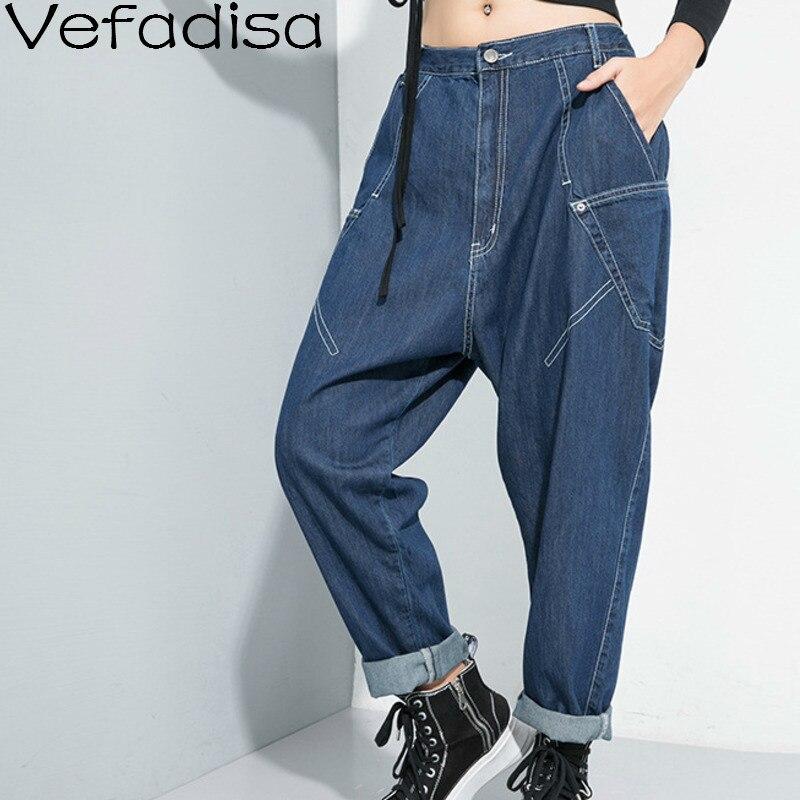 Vefadisa Autumn Solid Denim Harem Pants Pockets Mid Waist Casual Pants Button Fly Full Length Woman Pants Black Blue 2019 QYF609