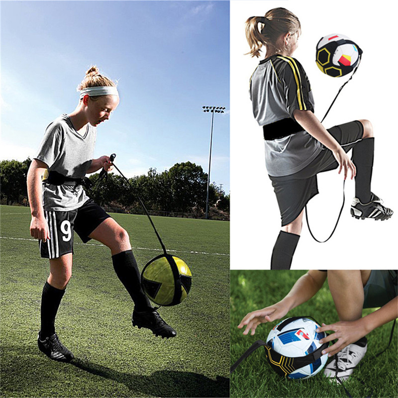 Football Kick Throw Trainer Solo Practice Training Aid Control Skills Adjustable Bandage Control Soccer Aid Equipment Waist Belt