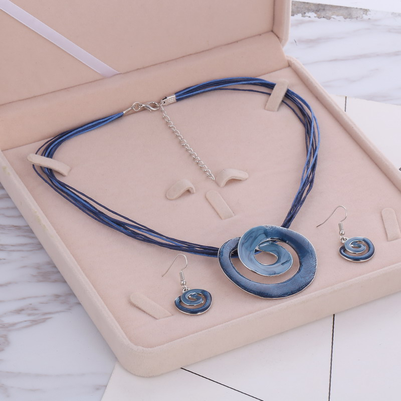 MINHIN Women Summer Jewelry Sets 4 colors Multilayer Leather Chain Pendant Necklaces Drop Earring Trendy Wedding Sets