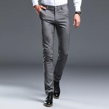 Męskie spodnie szare spodnie w kratę męskie szczupłe spodnie do fitnessu męskie spodnie z elastyczną siłą męskie formalne spodnie biznesowe spodnie od garnituru tanie i dobre opinie Poliester Mieszkanie Smart Casual Zipper fly Garnitur spodnie