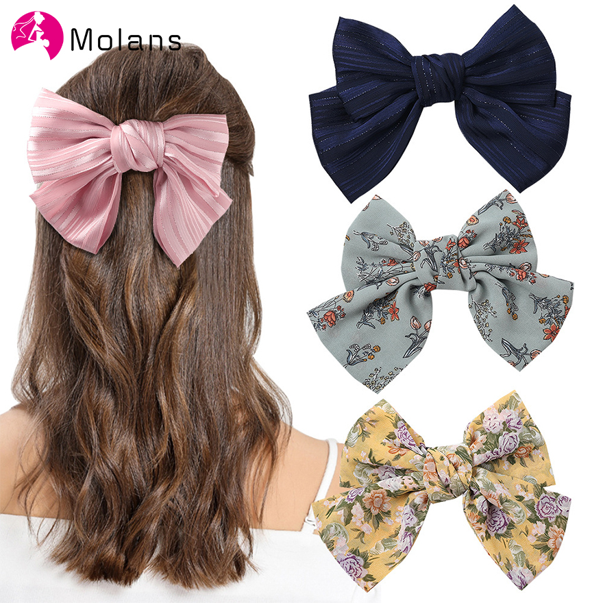 Molans New Floral Bow Spring Clips For Women Classic Bowknot Hair Tie Solid Sparkly Striped Oversized Bow Hair Clips Hairpins