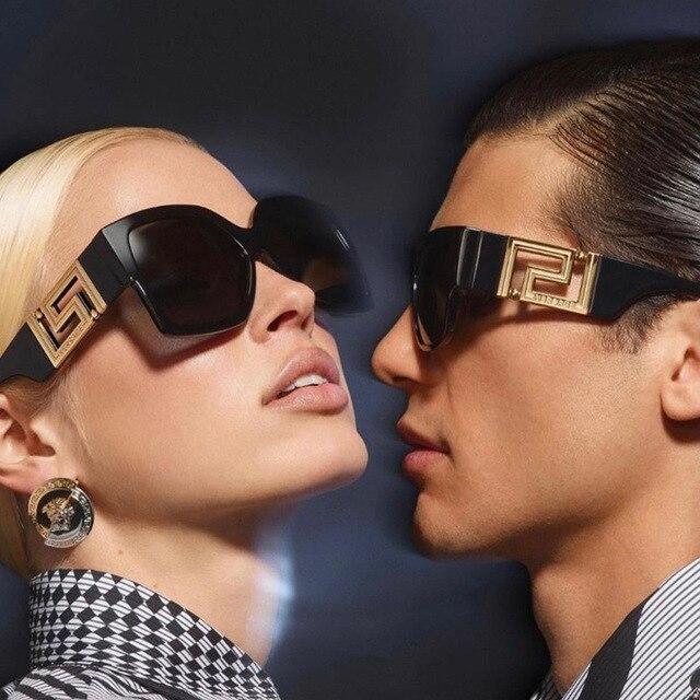 2021 Fashion Oversized Sunglasses Men Travel Brand designer Metal Parts Square Sun Glasses Female de sol UV400 1