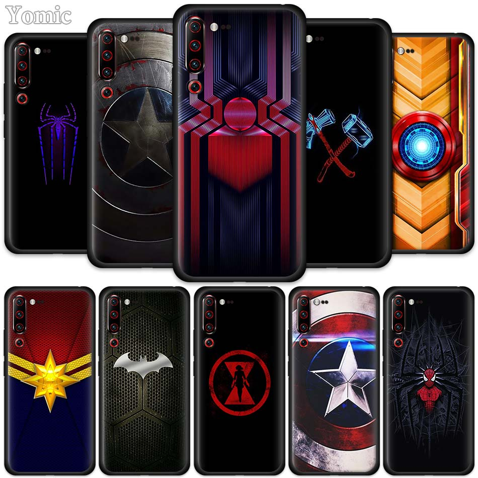 <font><b>Marvel</b></font> superhero logo Black Silicone <font><b>Case</b></font> for Lenovo Z6 Pro 5G Lite Youth Mobile <font><b>Phone</b></font> Bag Cover Z6Pro Z6Lite Coque image