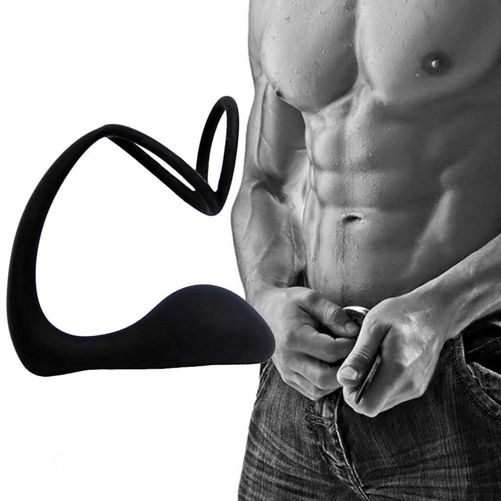 G Spot Vibrator Dildo Posterior Court Semen Lock Ring Double Ring Anal Prostate Massager Sex Toys