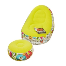Graffiti Style Lazy Inflatable Sofa with Pedal Combination Lounger Recliner 583A