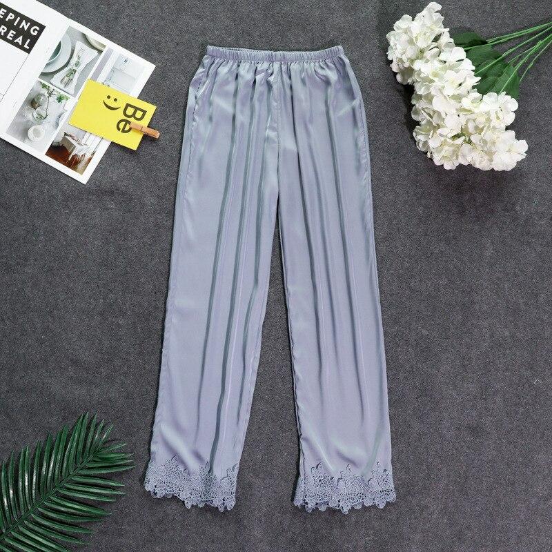 Осенние женские атласные пижамные штаны Свободные повседневные пижамы одежда для сна штаны для отдыха домашняя одежда - Цвет: gray B