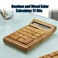FUNCTIONAL เดสก์ท็อปเครื่องคิดเลขพลังงานแสงอาทิตย์ไม้ไผ่เครื่องคิดเลข 12 หลักจอแสดงผลขนาดใหญ่บ้...