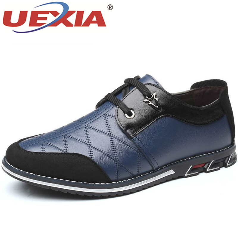 UEXIA 2020 Autumn Leather Man Shoes Flats Fashion Splice Lace Up Buiness Formal Casual Men Oxfords Leather Shoe Big Size 38-48