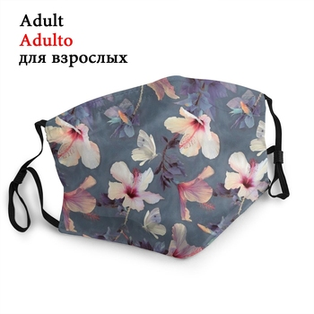Butterfly And Hibiscus Non-Disposable Mouth Face Mask Anti Haze Dust Mask Protection Cover Respirator Mouth Muffle