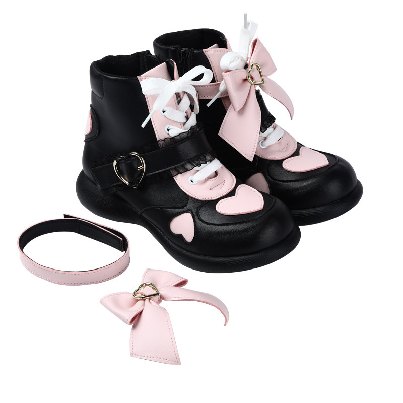 Japanese jk student sweet lolita shoes vintage round head lacing <font><b>women</b></font> shoes cute lace bowknot kawaii shoes <font><b>loli</b></font> cosplay image