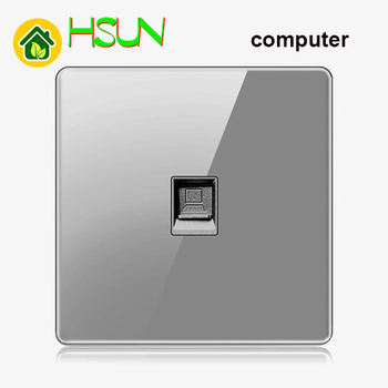 High-grade 1 2 3 4 gang 1 2 way big panel Grey switch socket Type 86 Wall 2.5D Cambered Mirror Toughened glass Computer TV 11