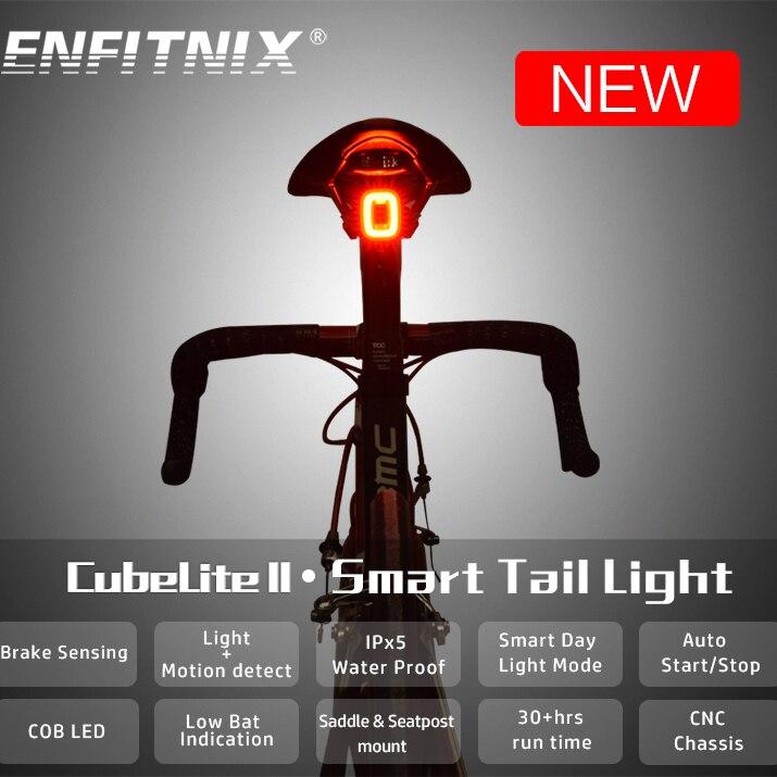 ENFITNIX Cubelite2 Bicycle Flashlight Bike Rear Smart Taillight Brake Sensing Waterproof LED Day Light Saddle Seatpost Light
